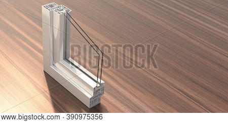 Pvc Aluminum Metal Frame With Two Glasses On Wooden Background. 3D Illustration