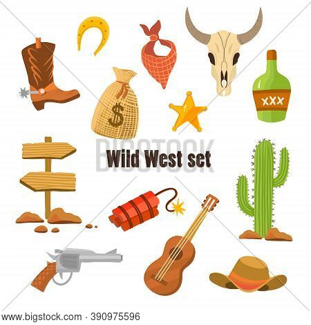 Wild West Cowboy Flat Clip-art With Pistol, Money In Bag, Hat Isolated Vector Illustration. Set For