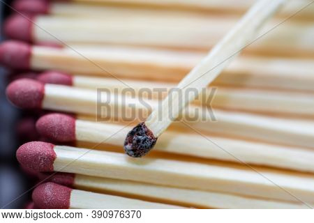 Group Of Matchstick Close Up Macro Shot, Focus On The Burned Out Stick.