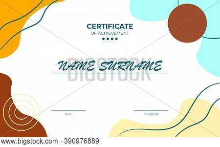 Modern Certificate Of Appreciation Template With Geometric Style Elements. Illustration. Copyspace T