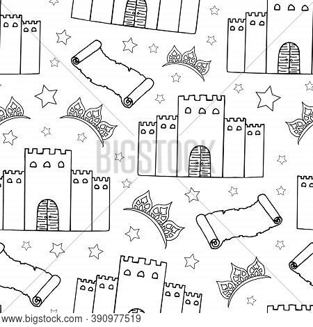 Fairy Tale Seamless Pattern. Castle, Diadem, Stars And Old Scroll On A White Background. Hand Drawin