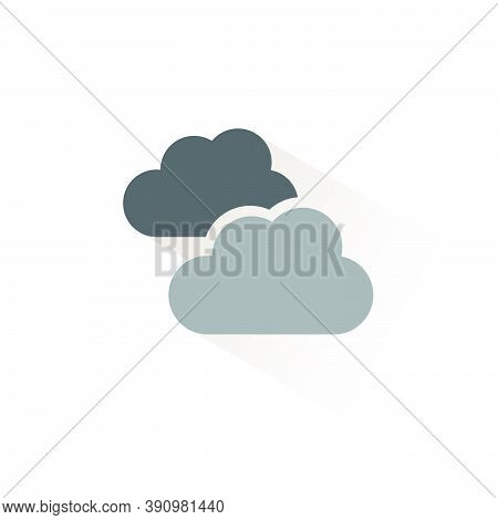 Clouds. Overcast. Isolated Color Icon. Weather Glyph Vector Illustration
