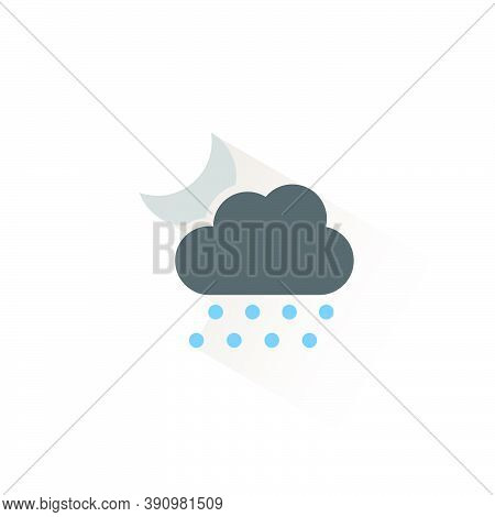 Hail, Cloud And Moon. Isolated Color Icon. Weather Glyph Vector Illustration