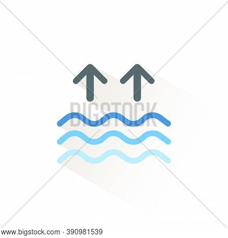 High Tides. Waves On The Sea. Isolated Color Icon. Weather Glyph Vector Illustration