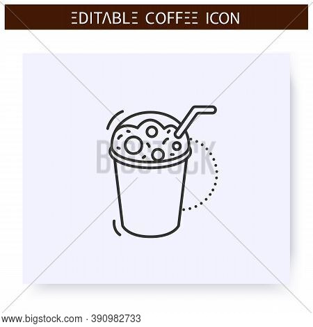 Frappe Coffee Line Icon.type Of Coffee Drink. Iced Drink With Water, Sugar, And Milk. Coffeehouse Me
