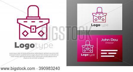 Logotype Line Handbag Icon Isolated On White Background. Female Handbag Sign. Glamour Casual Baggage