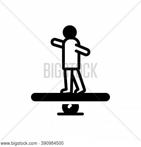 Black Solid Icon For Stable Constant Balance Equilibrium Poise