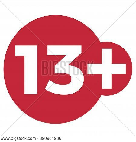 Red Drop Icon Circle With Age Limit 13