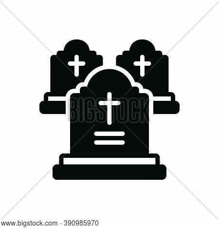 Black Solid Icon For Grave Death Funeral Gravestone Tombstone Cemetery Graveyard Halloween Headstone
