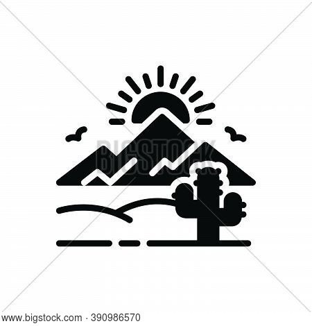Black Solid Icon For Desert Sands  Sandbar Cactus Wilderness Barren Infertile Natural Sun