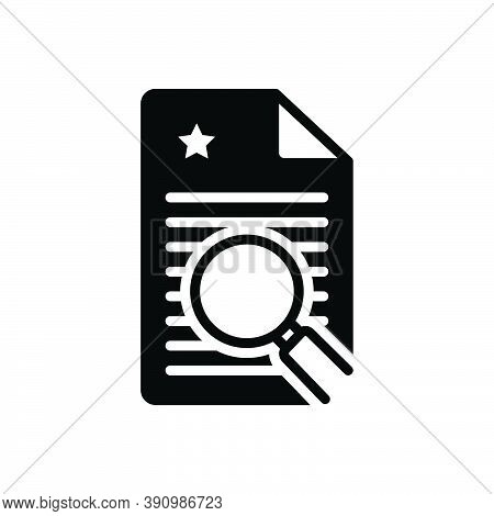 Black Solid Icon For Finding Search Quest Find Discovery Magnifier Document
