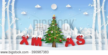 Christmas Banner Background, Origami Paper Art Of Christmas Tree In The Village With Xmas Word, Merr