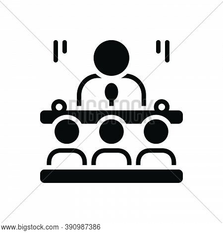 Black Solid Icon For Senate Conference Speaker Leader Spokesman Broadcaster Narrator Candidate Commu