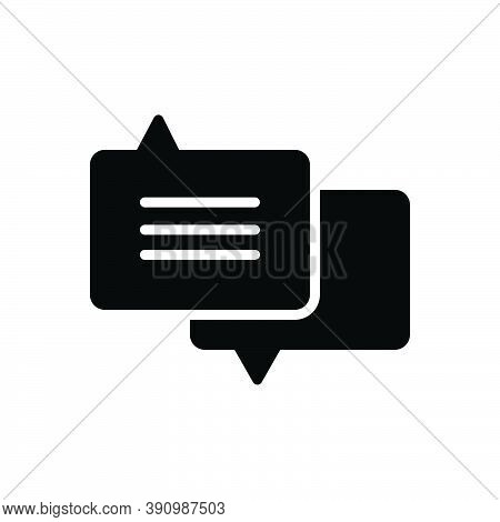 Black Solid Icon For Advice Request Counsel Guidance Bubble Chat Conversation Message