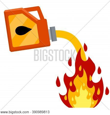Canister With Fuel. Red Gas Tank. Flammable Object. Danger And Fire