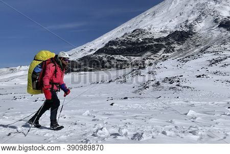 A Climber With A Backpack And Trekking Poles Walks Past A Snow-covered Volcano. Mountain Climbing. T