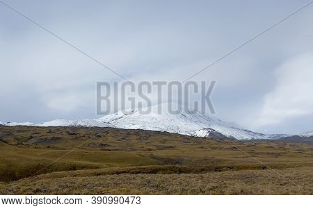 Autumn Landscapes Of Central Kamchatka. Picturesque Volcanoes, Mountains, Hills And Plains. Amazing