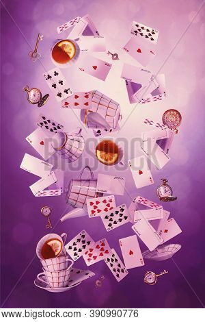 Wonderland Background. Mad Tea Party.playing Cards, Pocket Watch, Key, Cup And Teapot Falling Down T