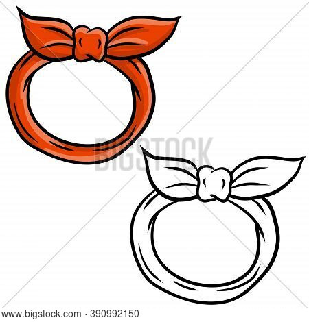 Red Kerchief For Head And Neck. Fashionable Women Accessory. Element Of Modern Clothing. Drawn Carto