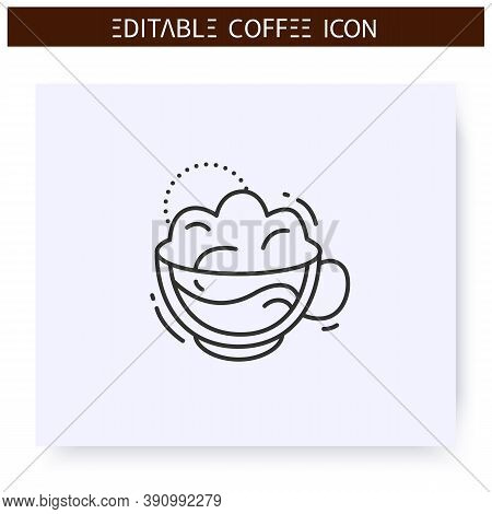 Cappuccino Coffee Line Icon.type Of Coffee Drink. Espresso With Steamed Milk Foam. Coffeehouse Menu.