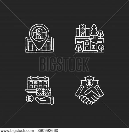 Commercial Deal For Realty Chalk White Icons Set On Black Background. Real Estate. House Location On