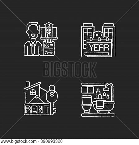 Realtor Agency Chalk White Icons Set On Black Background. Year Built. Rental Price For Home. Bath Ro