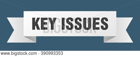 Key Issues Ribbon. Key Issues Paper Band Banner Sign