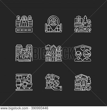 House Services Chalk White Icons Set On Black Background. Empty Lot For Sale. Home Position On Map.
