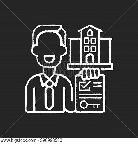 Realtor Chalk White Icon On Black Background. Real Estate Agent. Business Contract. Invest Money In