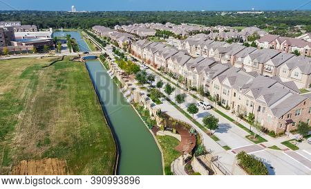 Top View New Development Riverside Residential And Commercial Neighborhood With Vacant Land In Texas