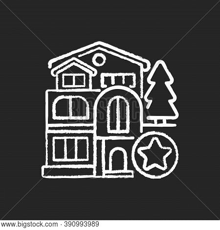 Luxury Home Chalk White Icon On Black Background. Mansion For Living. Villa For Dwelling. Premium Re