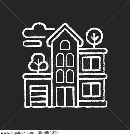Apartment Building Chalk White Icon On Black Background. Condominium Structure. Residential Property
