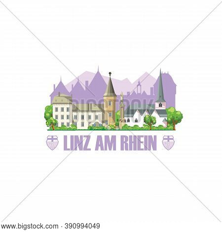 Linz Am Rhein City Skyline With Monuments Cityscape, Architecture And City Coat Of Arms.