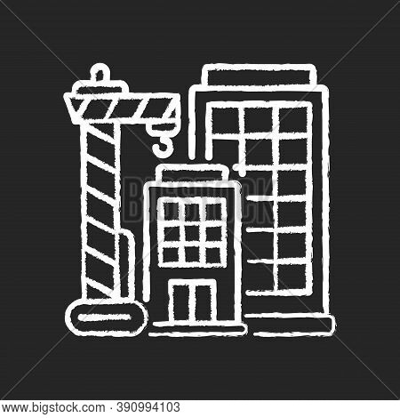 New Building Chalk White Icon On Black Background. Condominium Housing. Engineering Project For Home