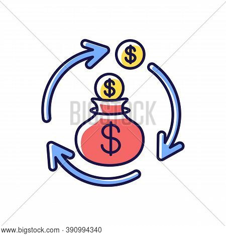 Revenue Synergy Rgb Color Icon. Accounting Process. Money Exchange. Flow Of Income. Business Investm