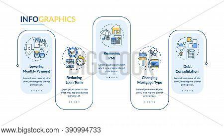 Loan Refinancing Benefits Vector Infographic Template. Loan Term, Debt Presentation Design Elements.