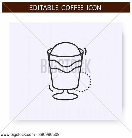 Mocha Coffee Line Icon.type Of Coffee Drink. Mocaccino. Chocolate-flavoured Variant Of Latte. Coffee