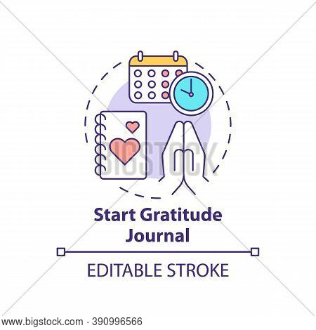 Start Gratitude Journal Concept Icon. Self Care Practices. Tool To Keep Track Of Good Things In Life