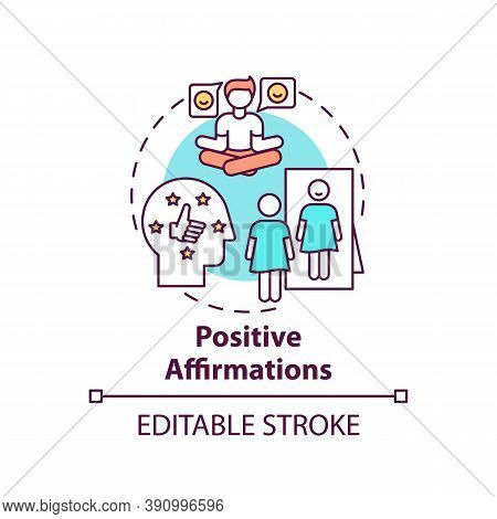 Positive Affirmations Concept Icon. Body Positivity Tips. Healthy Lifestyle Advices. Way To Healthy