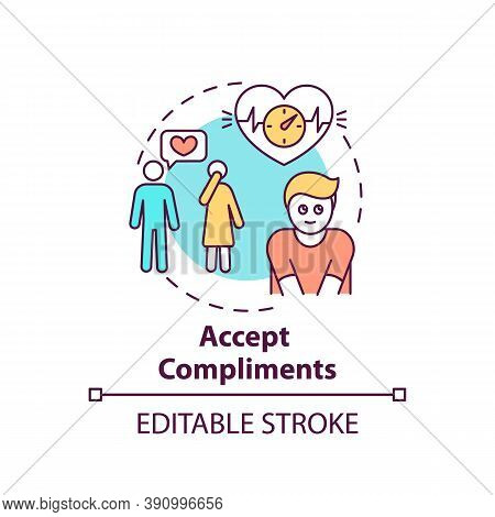 Accept Compliments Concept Icon. Body Positivity Tips. Receiving Nice Words. Happy Everyday Life Ide