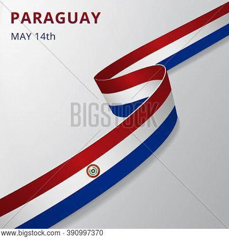 Flag Of Paraguay. 15th Of May. Realistic Wavy Ribbon In Colors Of Paraguayan Flag. Independence Day.