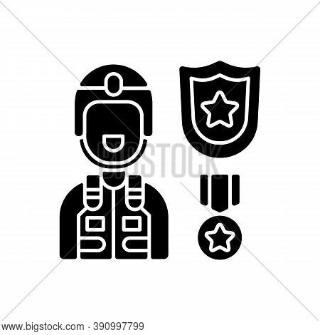 Defence Industry Black Glyph Icon. Military Officer. Armed Forces. Weapons And Military Technology.