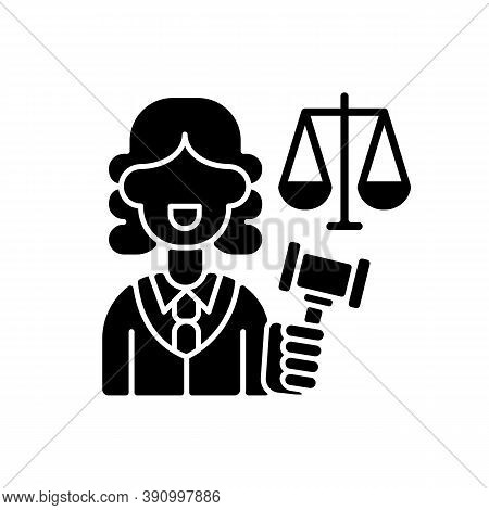 Justice Sector Black Glyph Icon. Judiciary. Legitimacy. Court. Judicial Reform. Practising Lawyers.