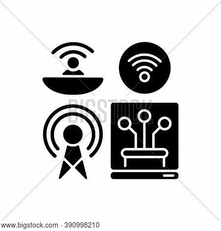 Communications Infrastructure Black Glyph Icon. Broadcasting. Information Technology. Telecommunicat