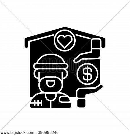 Shelter Services Black Glyph Icon. Safe Accommodation. Homeless Shelter. Emergency Placement. Housin