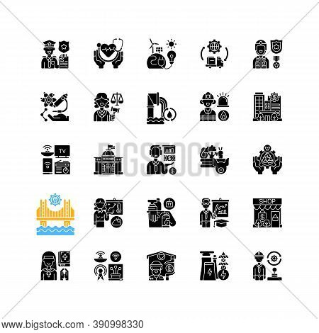 Essential Services Black Glyph Icons Set On White Space. Key Industries. Hospitals And Other Healthc
