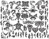 Iconic Dragons Butterfly  Eagle Tattoo Tribal Vector Set poster