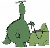 This illustration depicts a dinosaur walking another reptile on a leash. poster