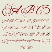 vector hand drawn calligraphic Alphabet based on calligraphy masters of the 18th century poster