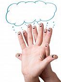 Happy finger smileys with speech bubbles. poster